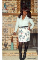 Nine West boots - chambray Charlotte Russe shirt - sequin H & M skirt