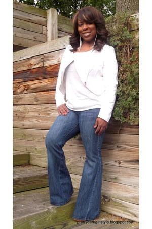 blue flare leg TJ Maxx jeans - white faux leather Vivienne Tam jacket