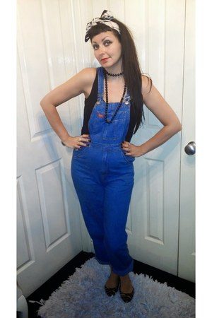blue vintage bodysuit - camel Burberry hair accessory - black Primark vest