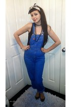 blue vintage bodysuit - camel Burberry hair accessory - black Primark vest