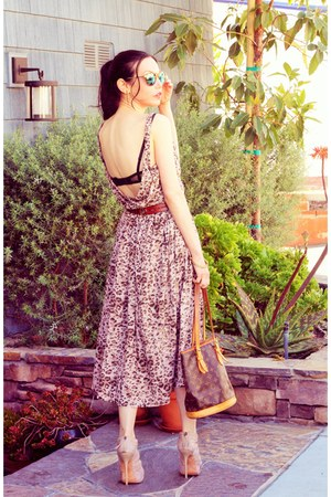 zeroUV sunglasses - brown Rebecca Taylor dress - dark brown Louis Vuitton bag