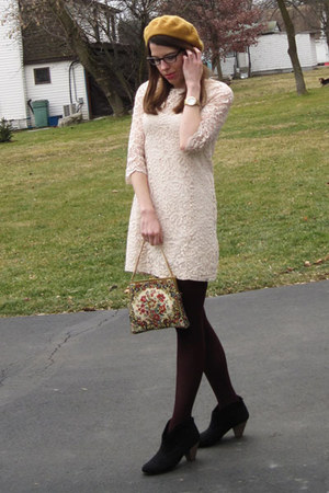 vintage bag - black Target boots - ivory H&amp;M dress - gold modcloth hat