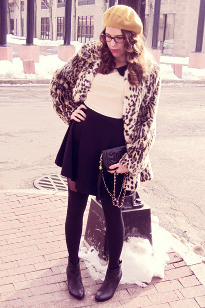 leopard print coat - sam edelman boots - Forever 21 dress - modcloth hat