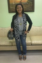 giraffe-printed scarf - charcoal gray jovanni bag - black long cardigan