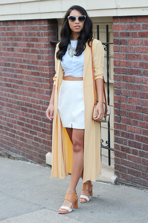 light yellow Saks Fifth Ave Collection jacket - light blue Zara top