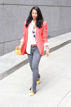 orange vintage blazer - yellow Dolce Vita heels