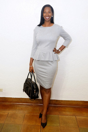 pencil skirt DIY skirt - leather kate spade bag - peplum DIY top - Payless pumps