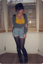 bronze animal Primark necklace - black Office boots - black patterned H&M tights