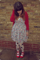 white polka dot H&M tights - red patent Office shoes - floral H&M dress