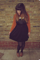 black Forever21 dress - tawny Primark shoes - black patterned H&M tights