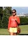 Orange-crochet-michael-kors-sweater-yellow-linen-h-m-shorts