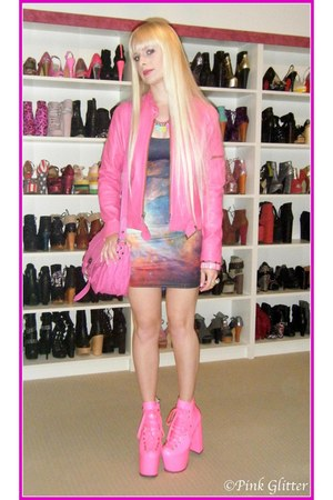 pink hellbound UNIF boots - purple rainbow galaxy Black Milk dress