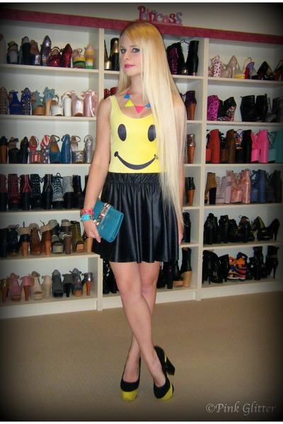yellow Betsey Johnson heels - sky blue Hermes bag - black supre skirt
