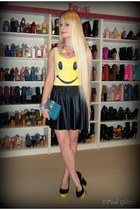 yellow Betsey Johnson heels - sky blue Hermes bag - black supre skirt