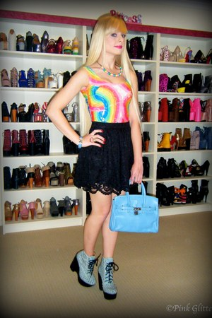 black Black Milk skirt - sky blue tardy stud Jeffrey Campbell boots