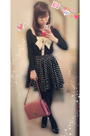 black sweater - hot pink vivienne westwood bag - black boo skirt - black heels