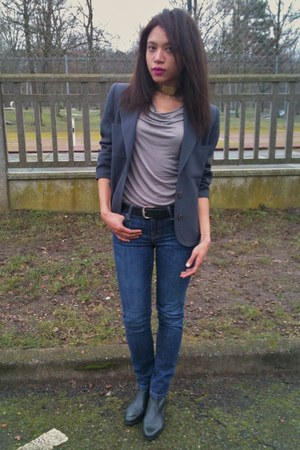 Gap jeans - vintage boots - vintage blazer - Gap top - asos necklace