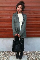 H&M jacket - Zara bag - River Island pants - Jeffrey Campbell wedges - Zara top