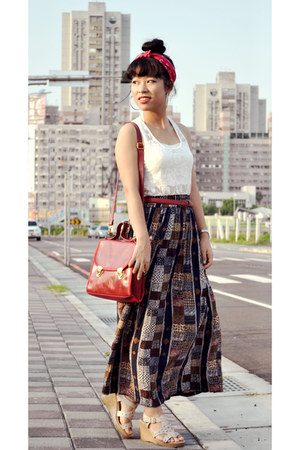 patchwork skirt - bag - lace top - top - top