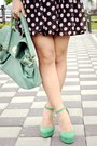 Pink-polka-dots-skirt-black-polka-dots-skirt-teal-bag