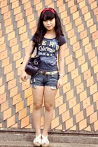 navy denim shorts Local store shorts - navy fitted Aeropostale t-shirt