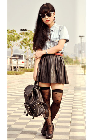 blue denim top - black faux leather skirt