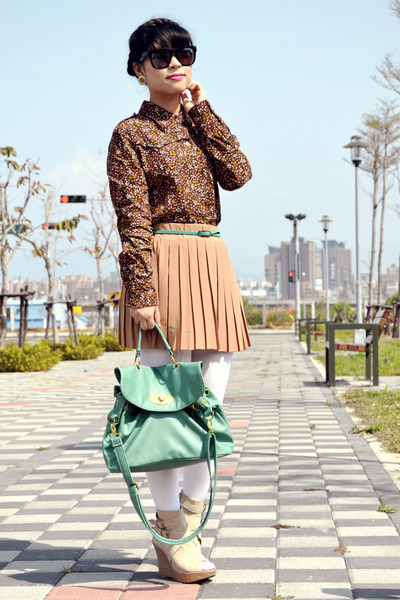 brown floral shirt blouse - turquoise blue bag - light brown pleated skirt skirt