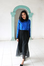 Black-maxi-skirt-skirt-blue-collar-blouse-black-wedges