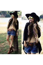brown fur romwe vest