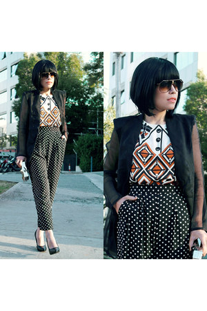 blazer - sunglasses - blouse - pants - heels