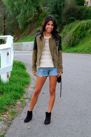 olive green Zara jacket - black Vince Camuto boots - black Rebecca Minkoff bag