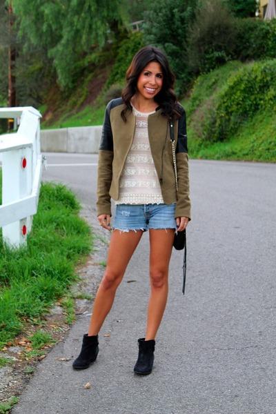 olive green Zara jacket - black Vince Camuto boots - black Rebecca Minkoff bag