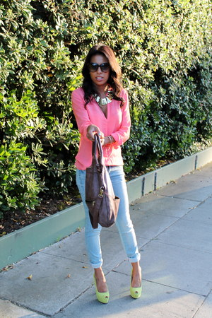 lime green Shoe Dazzle pumps - blue Zara jeans - bubble gum Zara blouse