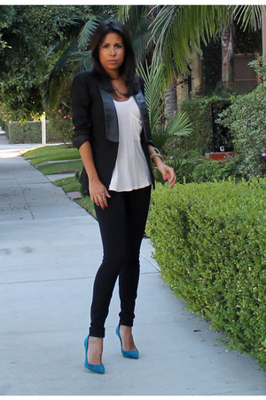 black H&amp;M blazer - black JCrew pants - blue Manolo Blahnik heels
