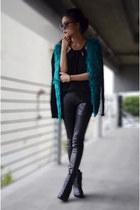 Sheinside cardigan - black top PERSUNMALL top - leather pants Bebe pants
