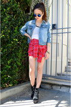 denim jacket chicnova jacket - Q2HAN shorts - gold bracelets shoplately bracelet