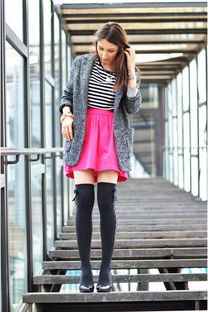 Zara skirt - Mango coat - Calzedonia tights - BONE necklace - Zara heels