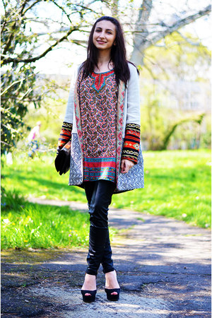 ethnic Zara coat - indian shirt - snakeskin Urban Outfitters bag - Zara sandals