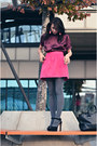 Black-zara-bag-magenta-pimkie-top-black-zara-sandals-hot-pink-zara-skirt