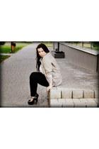 black new look leggings - heather gray reserved jacket - black wholesale heels