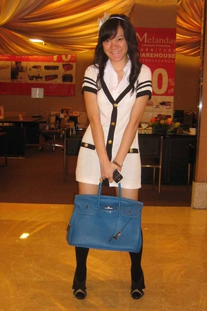 random brand accessories - NiNaMoRi dress - socks - Hermes purse - VIncii shoes