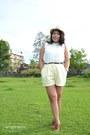 Burnt-orange-oxfords-shoes-ivory-fedora-hat-light-yellow-high-waisted-shorts
