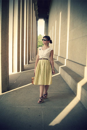white thrifted blouse - yellow vintage skirt - brown thrfited shoes