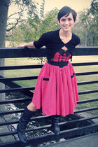 red modcloth dress - black vintage boots