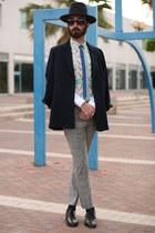 blue second hand blazer - sky blue za shirt - heather gray ben sherman pants