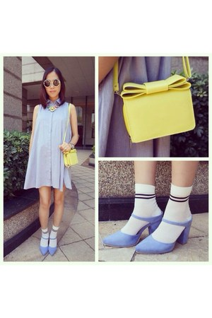 yellow bag - sky blue dress - sky blue heels