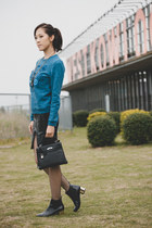 blue tiger Kenzo sweatshirt - black Zara boots - black kelly bag Hermes bag