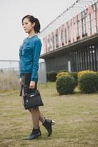 blue tiger Kenzo sweatshirt - black Zara boots - black kelly bag Hermes bag