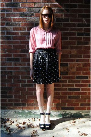 white polka dot thrift skirt - peach Gap socks