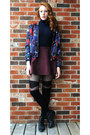 Black-leather-vintage-boots-purple-bomber-h-m-jacket